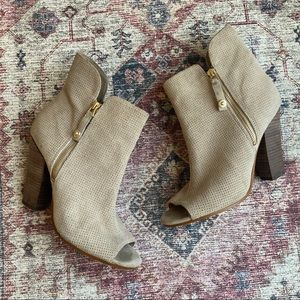 Guess Natural Suede Peep Toe Booties